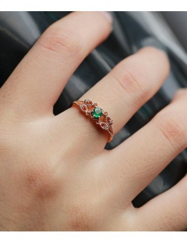 Emerald Engagement Ring women rose Gold wedding vintage ring jewelry Anniversary gift for her
