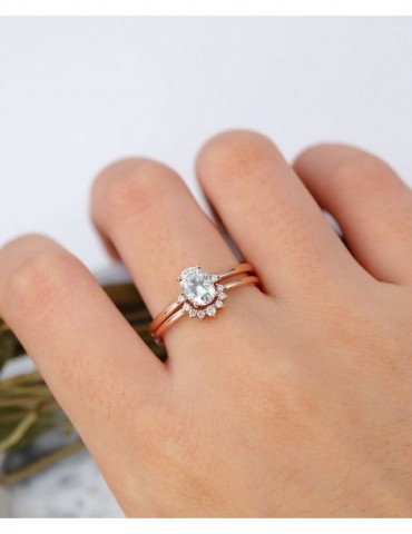 Oval Moissanite Engagement Ring set Rose gold engagement ring curved wedding gift for women