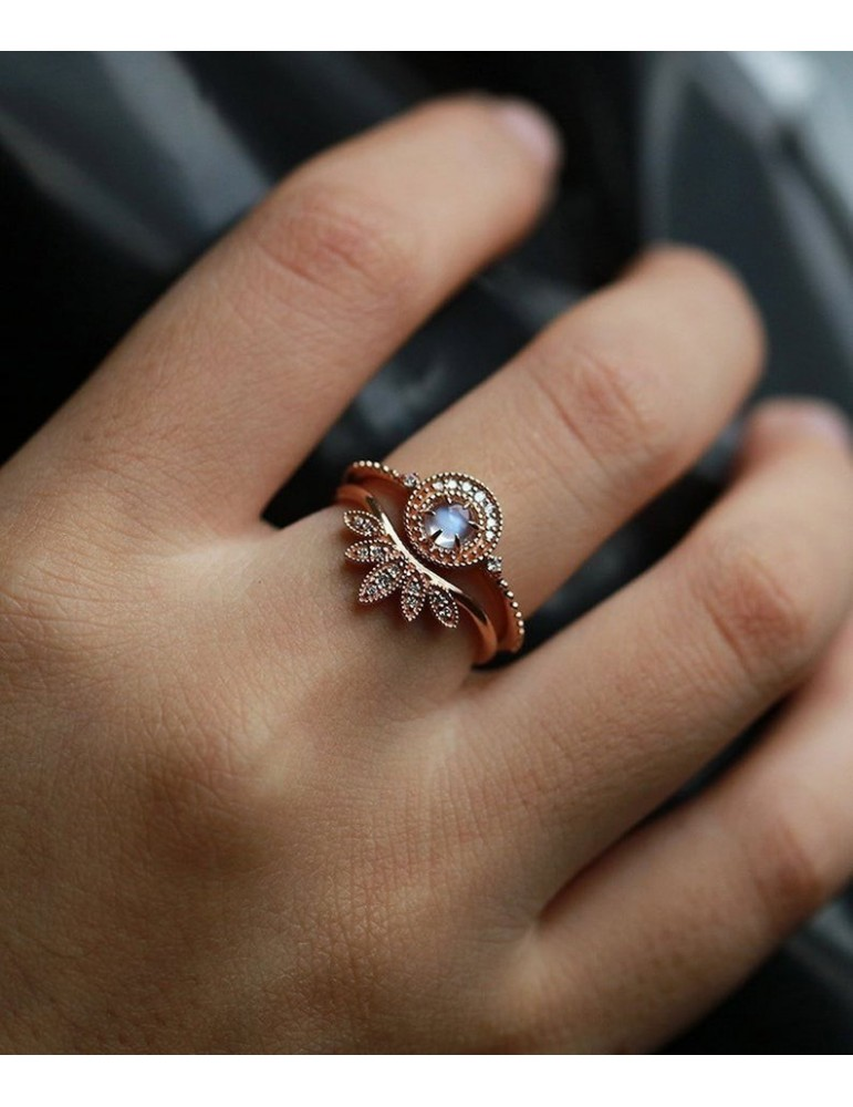 Art deco engagement ring women moonstone Vintage diamond round cut rose  gold gift for her