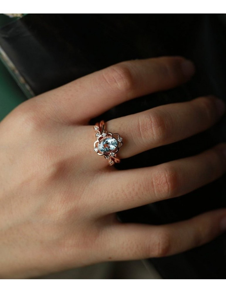 aquamarine engagement ring vintage rose gold oval cut