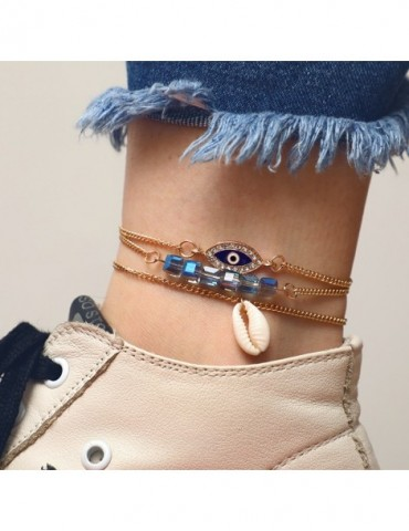 Women Eye Shell Square Colour Alloy Link Chain Ankle For Women Foot Jewelry