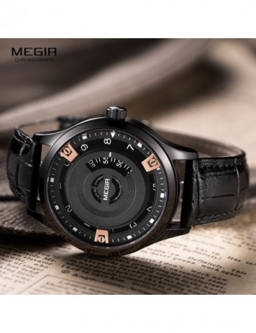 Megir Mens Fashion Black Leather Quartz Watch
