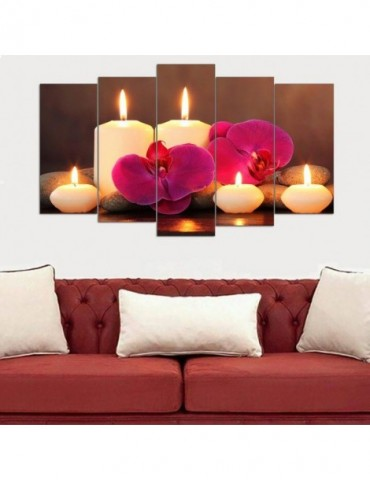Romantic candles flowers wall decor for home