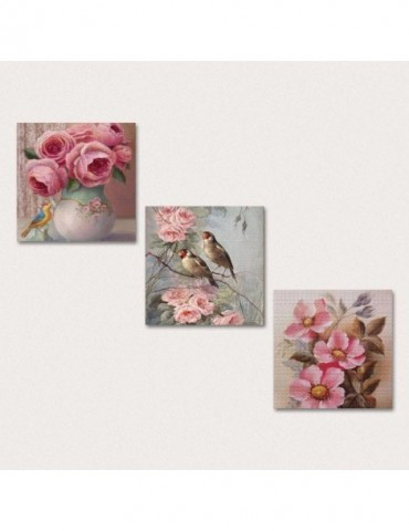 Cadran Wood birds on flower wall decoration