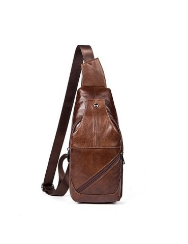 Men Chest Bag Leather...