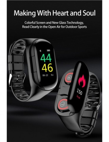 Smart Watch Bluetooth Earphone Heart Rate Monitor Fitness Tracker Blood Pressure Smartwatch for IOS Android Phone