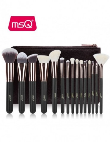 MSQ Rose Gold 15PCS Makeup Brushes Set Powder Foundation Eyeshadow Make Up Brush Kits Natural & Synthetic Hair Makeup Tools