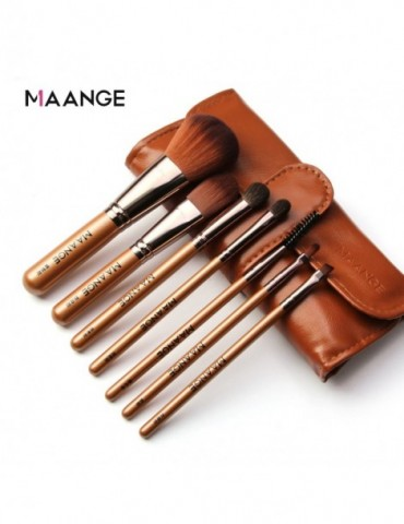 MAANGE 7PCS Make Up Brushes set Foundation Eye Shadow Concealer Makeup Tools With Cosmetic Travel Brush Bag