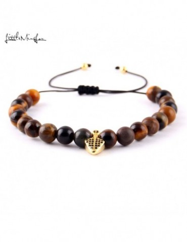 Luxury Micro Pave zircon anchor charm Tiger eye Beads Braided men Bracelets