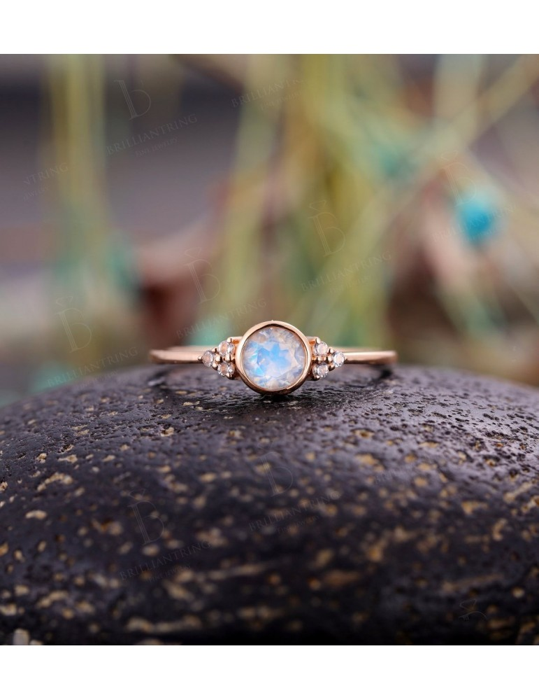Engagement ring women Vintage moonstone Topaz rose gold Unique Delicate wedding Bridal Jewelry