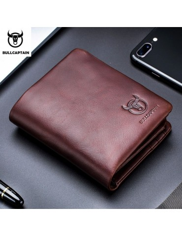 Leather Trifold Wallet Men...