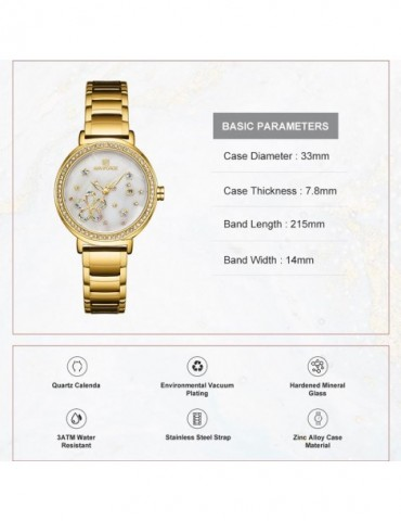 Kashidun Genuine Ladies female fashion Waterproof Steel Watch