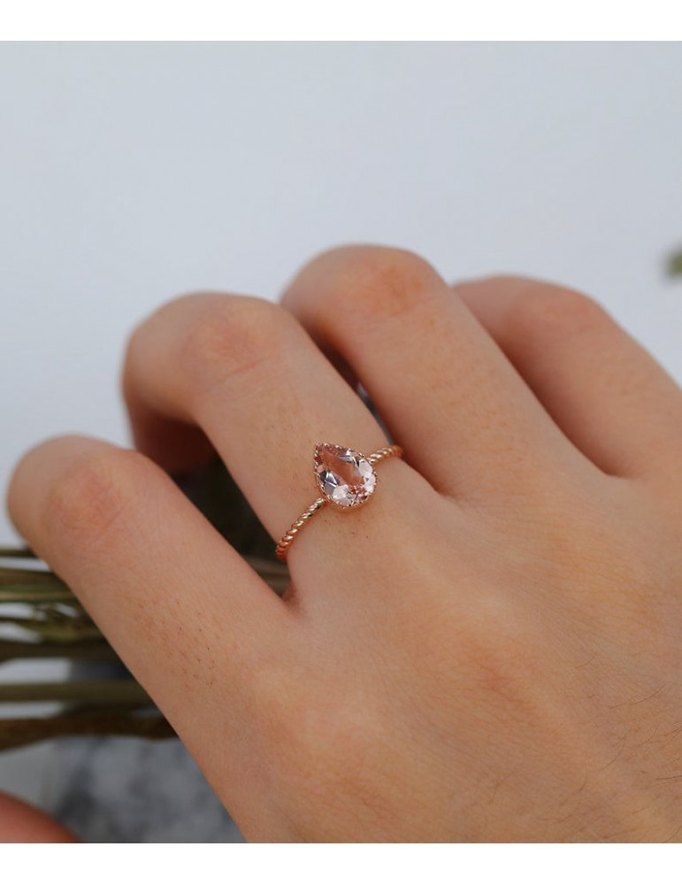 Art Deco Morganite Engagement Ring Rose Gold Pear Cut Vintage Ring Gift For Her