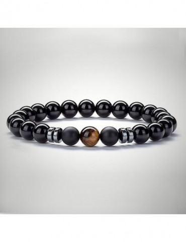 Beaded bracelet men natural...