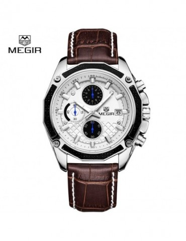 MEGIR Fashion Luxury Black Leather Quartz Watches Chronograph Sport Wristwatch