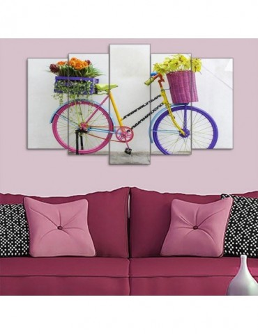 Flowers on bicycle fashion wall decoration