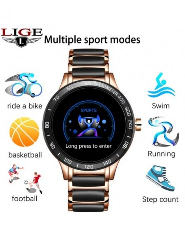 Smart Watch Blood Pressure Round Ceramic Strap Smartwatch Watch Waterproof Sport Tracker For Android Ios